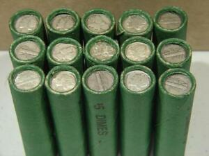 1 1916-1945 PDS Mercury Silver Dime Old Green Shotgun Roll of 50 Coins