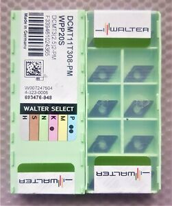 10x WALTER CARBIDE INSERTS DCMT11T308-PM  DCMT3(2.5)2-PM  Grade WPP20S