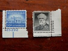 ROBERT E. LEE 30 CENTS STAMP AND MONTICELLO 20 CENT POSTAGE STAMP