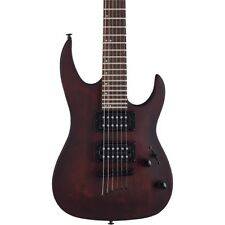 Mitchell MM100 Mini Double Cutaway Electric Guitar Walnut Stain