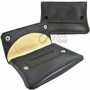 Real Hide Leather Tobacco Pouch Holder Cig Roll Ups Black Case Rubber inner