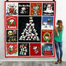 Charlie Brown Snoopy Christmas Holiday Lovely Quilt Blanket, Fleece Blanket