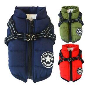 UK Autumn Winter Pet Vest Puppy Dog Cat Warm Padded Coat Harness Zip Jacket New
