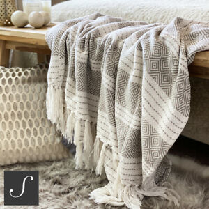 Luxury  Beige Natural Linen Cotton Feel ECO Throw Blanket Sofa Geometric Modern