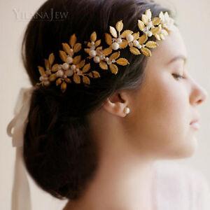 Gold Leaf Bouquet Bridal Hairband Flower Garland Headband Jewelry for Hair