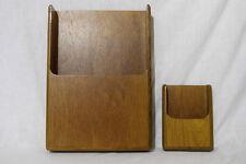 2pc Vintage Mid Century Modern Danish TEAK Wood Letter Paper DESK ORGANIZER Tray