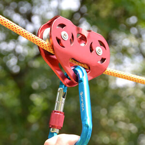 25KN / 5500lbs Zip Line Cable Trolley Outdoor Military Rock Climbing Dual Pulley