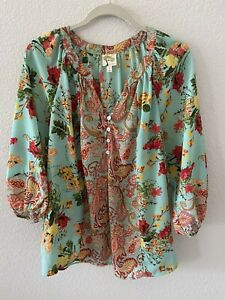 Fig and Flower Anthropologie Women Floral Boho Shirt Size L Peasant Blouse