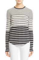 * NWT Vince Engineered Stripe Long Sleeve Crewneck Tee, Size X-Large - White