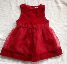 Gymboree Red Holiday Christmas Dress Size 6-12 Months Velvety Sheer