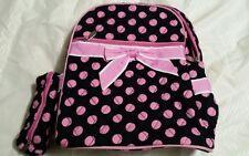 Quilted Polka Dot Backpack w/ Convertible Shoulder Straps - Black & Pink