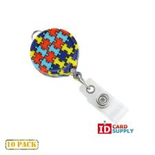 10 x Autism Awareness Print Badge Reels with Belt Clip Attachment