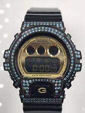 Genuine Casio G - Watch With Custom Crystal Bezel  DW6900CB Shock Black