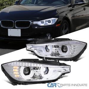 For 12-15 BMW F30 3-Series Clear U-Halo Projector Headlights w/ LED Strip Signal