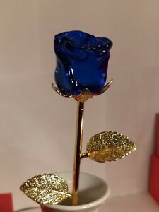 Mother's Day Sale Single Crystal Rose Art Glass Flower Murano Style W/Gift Box