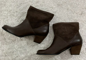 Corso Como Womens Beauty Booties Brown Leather Size 9 M Pull On Style NEW