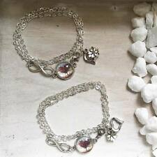 Handmade Vintage Armband Silber Herz Baum Infinity Liebe Freundschaft Glieder