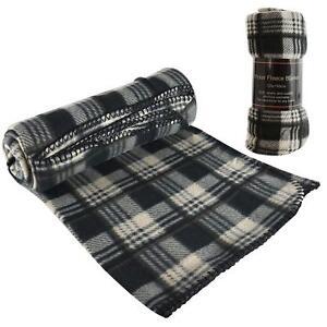 Tartan Checked Polar Fleece Warm Soft Blanket Sofa Bed Travel Car Throws Picnic