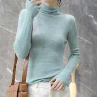 Womens Cashmere Knitted Turtleneck Sweater Slim Thick Warm Knitwear Tops Yin66
