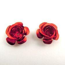200pcs Red Copper Aluminum Rose Pattern Flower Pendant Charms 30564