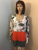J JILL WEAREVER COLL Sz M Knit Orange White Black Floral COLORBLOCK TUNIC TOP LS