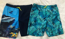 Lands End Large 14H-16H Husky Boys Swim Trunks Shark Underwater Leaves