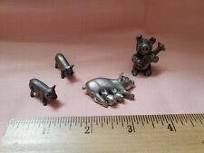 Vintage Spoontique Pewter Pig Lot Miniature Figure 4 pcs