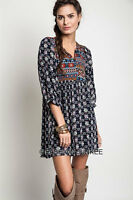 NAVY BLUE (01) PRINTED TUNIC Shirt DRESS Bohemian Boho Baby Doll Indie S M L XL