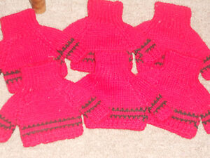 "Lot of 6 New Knitted Sweaters for Teddy Bears/Dolls; Red- 4.5"" x 4"" NWT"