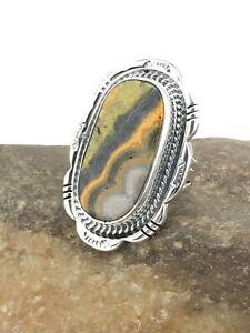 Native American Navajo Sterling Silver Bumble Bee Jasper Ring S6.75 4858