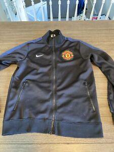 Nike Manchester United Spellout Full Zip Black Jacket Men Sz M Full Zip Warm up