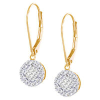 0.50 Cttw Round Cut Diamond Drop Earrings 10K Solid Yellow Gold