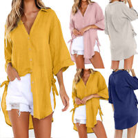 Ladies Womens Long Sleeve Loose Button Shirt Buttons Casual Tops T-Shirt Blouse