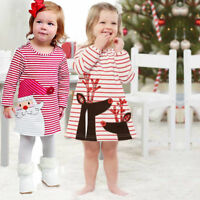 Xmas Toddler Baby Kids Girls Striped Princess Dress Christmas Outfits Clothes