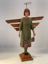 """Original Woodcarving by Noted Artist Ed Pribyl Home Angel 18.5"""" Tall"""