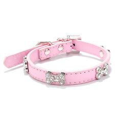 Collar de Perro de Cuero PU hueso Diamante Cachorro Pequeño Mediano Grande