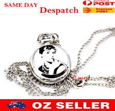Audrey Hepburn Pic Design Lady Lady's Silver Nurse Battery Powered Pocket Watch