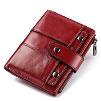 RFID Women Genuine Leather Wallet Money Card Holder Multifunction Snap ClosureQR