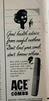 Lot of 4 Vintage 1960 Ace Combs Print Ads Good Health Advice Don't Share Combs