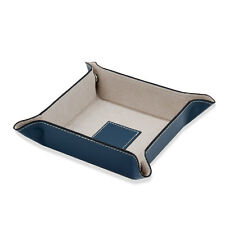 Bey Berk Blue Leather Snap Valet with Pig Skin Tray Leather Lining