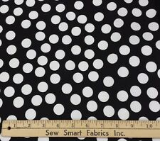 "White Polka Dots on Black Cotton Fabric, 58""W 3 yd. piece (Can CTO)"