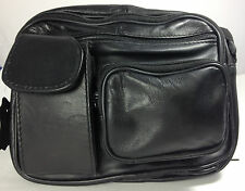 Pouch Waist Shoulder Pack Casual Bag Leather Unisex Travel Carry On  Black