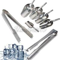"""5 x 5oz Sweet Scoops + 5 x 5"""" Ice Tongs Wedding Candy Buffet Bar Stainless Set"""