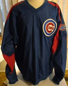 CHICAGO CUBS V-NECK WINDBREAKER--MAJESTIC--SIZE XL--MINT CONDITION