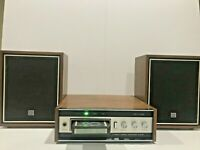 "Vintage Ross Electronics 8- track player model RE-3435 & 10"" Speakers Japan 117V"