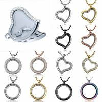 30mm Floating Charm Living Memory Crystal Round Glass Locket Pendant Necklace