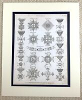 1830 Antico Incisione Stampa Medaglie Premi Ordine Di San George Louis Francia