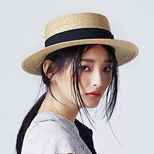 100% Wheat Straw Summer Women Boater Beach Sun hat For Lady Flat Top Fedora Hat