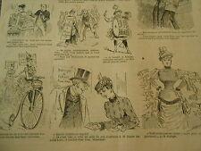 Caricature Vignettes Vélocipède Amer Machiner Apéritif 1886