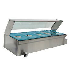 Commercial Food Warmer Portable Steam Table Countertop 5 Pots Soup Station /110V